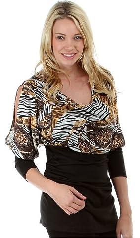 Noir/Marron (Slouch Animal Print Tunic) tunique imprimé zébre avec leopard. 46/50
