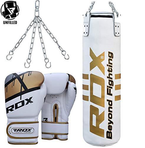 RDX Boxsack Set UNGEFÜLLT Rindsleder Kickboxen Kampfsport MMA Muay Thai Boxen Deckenhalterung Training Stahlkette Boxhandschuhe Schwer 4FT 5FT Punching Bag (MEHRWEG) -