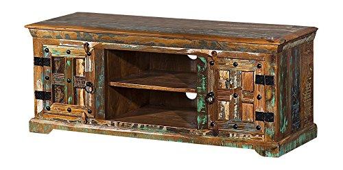 The Wood Times Lowboard TV Möbel Massivholz Vintage Look Delhi FSC Recycled, BxHxT 125x50x45 cm