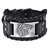 @Y.T Bracelet en Alliage Large Bracelet en Fourrure Wolf Bracelet en Cuir Bracelet...