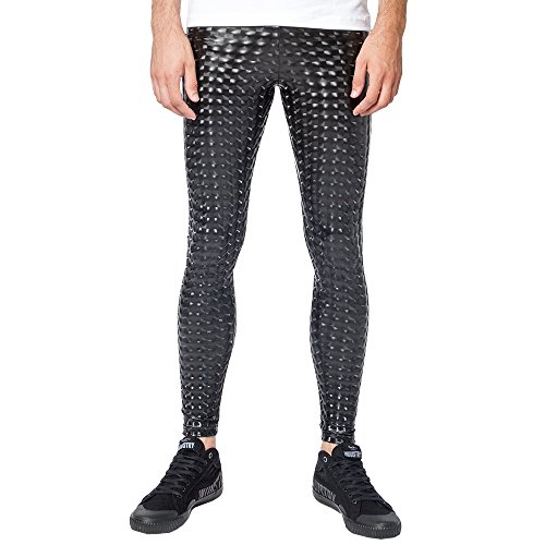 61f5ef56 Kapow Meggings New Metallic and Wet Look Leggings for Men, Faux Leather &  Holographic, Shiny Colourful Tights (Medium, Black Magic)