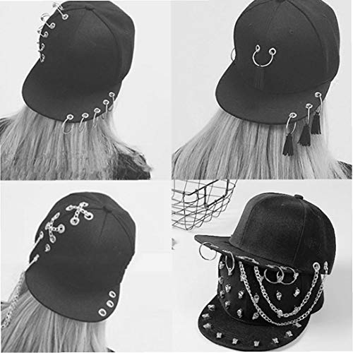 Imagen de unisex punky  de béisbol plana brim hip hop sombrero planos del snapback del golpeador ajustables con cadena cruzada para hombres de las mujeres alternativa