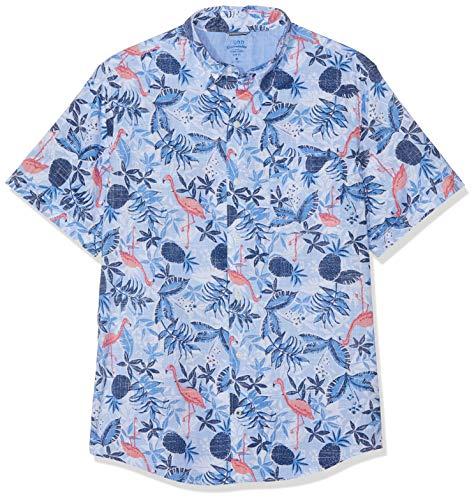 Izod Herren Dockside Flamingo Print SS Shirt Freizeithemd, Blau (Blue Revival 464), X-Large (Herstellergröße: XL) - Heritage Rugby Shirt