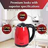 Kitchoff Double Body Red Coated Automatic Stainless Steel Electric 1.7 Litre Kettle for Home & Office