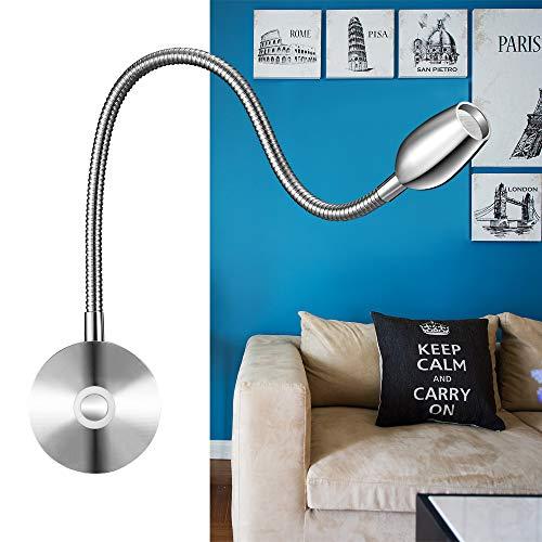 Lampe de lecture à LED,lampe de chevet & travail à puissance variable (dimmable) fixée au mur,avec fonction mémoire,interrupteur tactile,Blanc chaud,200lm/3000k/3w,angle de faisceau:30°,Longueur:38cm