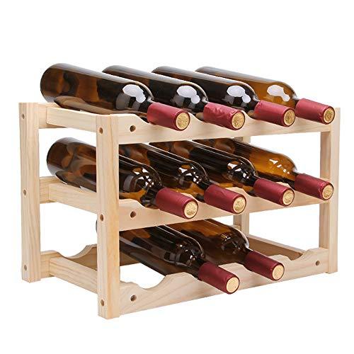 LULU Kreatives Weinregal|Flaschenhalter Aus massivem Holz|Hauptdekoration|Robust und langlebig|Holzfarbe|Kann 12 Flaschen Rotwein aufnehmen|28 * 24 * 46 * 4 cm
