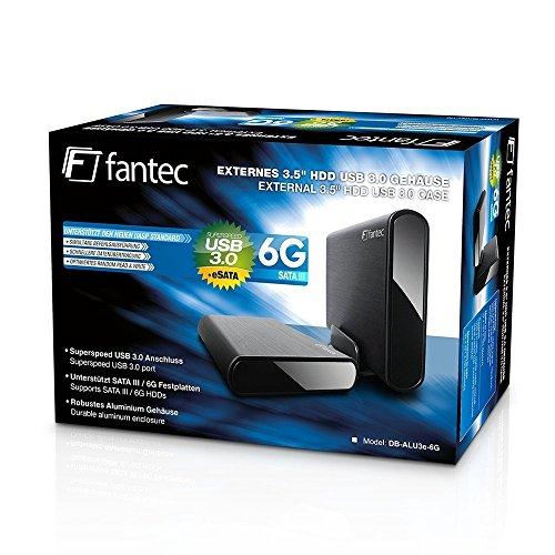 FANTEC DB-ALU3e-6G Externes Festplattengehäuse (für den Einbau einer 8,89 cm (3,5 Zoll) SATA I/II/III Festplatte, unterstützt SATA III 6G Festplatten und USAP, USB 3.0 SUPERSPEED und eSATA Anschluss, Aluminium Gehäuse) schwarz
