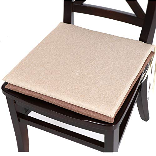 ZFM Breathable Chair Cushions, Easy Care Removable Dining Chair Tie-On Seat Pad Garden Patio Kitchen Dining Chair Pads,beige,45 * 45cm (Patio-stuhl-seat-kissen-set)