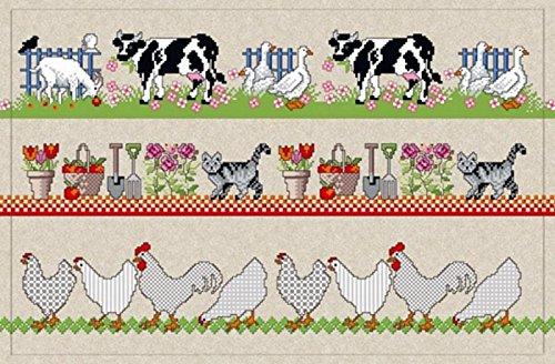 waschbare Fußmatte - Bauernhof Farm Tiere - Vintage Türmatte waschbar
