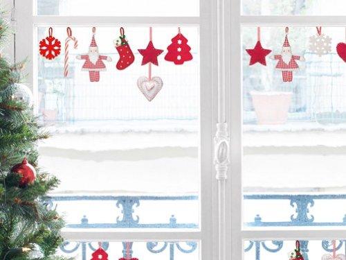 Weihnachten - Nostalgische Filzhänger Deko Aufkleber Poster-Sticker Für Fenster (30 x 20cm)