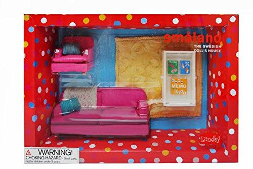 Lundby 60.2067.00 - Smaland: Soggiorno rosa con tavolo, per casa delle bambole