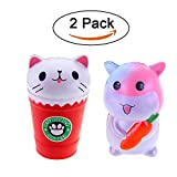 rosybeat 2PCS Jumbo Squishies Kawaii Carrot Hamster Cream/Cat Coffee Cup Squishies Cream Scented Stress Relief Kawaii Toys squishy Jumbo Toys for Kids and Adult