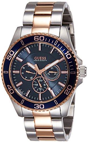 a5244179f625 Guess - Reloj de cuarzo para hombre con esfera analógica de color negro y  plateado acero inoxidable W0172G3