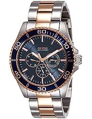Guess–Reloj de cuarzo para hombre con esfera analógica de color negro y plateado acero inoxidable W0172G3