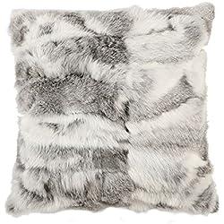 Ysting Hogar real del conejo Funda de almohada de piel funda de cojín (45x45CM) (Gris)