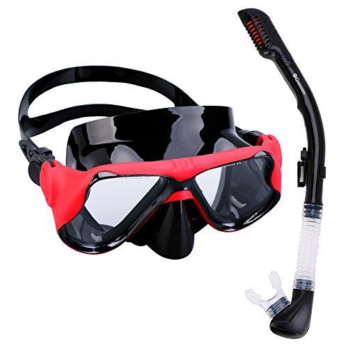 Gosccess Premium Schnorchelset Erwachsene Taucherbrille mit Schnorchel gehärtete Anti-Beschlag Gläser Taucherbrille Tauchmaske und trockenem Schnorchel Set(Rot/Schwarz)