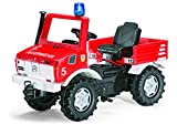 Rolly Toys Unimog Feuerwehr Farmtrac classic mit Kettenantrieb, Schaltung, Handbremse (für Kinder von 3 – 8 Jahren, TÜV/GS geprüft, Farbe: Rot)
