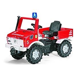 Rolly-Toys-036639-Feuerwehr-Unimog-Farmtrac-classic-inklusive-Rundumleuchte-Flashlight-mit-Kettenantrieb-Schaltung-Handbremse-fr-Kinder-von-3--8-Jahren-TVGS-geprft-Farbe-Rot