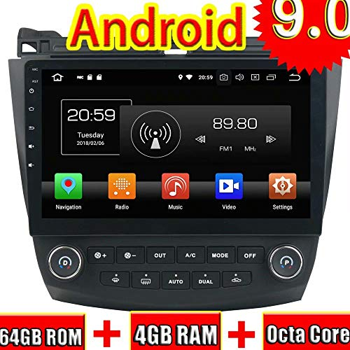 ROADYAKO Android 9.0 Auto Radio Für Honda Accord 7 2003 2004 2005 2006 2007 Klimaanlage Bord Auto Stereo Mit GPS Navigation 3G WiFi Spiegel Link RDS (Honda Accord Stereo-2003)