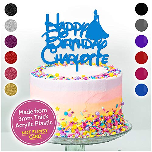 CINDERELLA DISNEY PRINCESS Personalised Cake Topper Decoration Girls ANY NAME - Choice of Colours - Solid Acrylic or Glitter Acrylic Available - PERSONALISE with ANY NAME