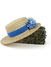 Gr Frauen-Breiter Rand 100% Weizen-Stroh Sonnenhut Mode-Dame Summer Beach Hat mit Blauer Blume (Color : Natural, Größe : 56-58cm)