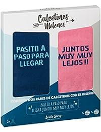LOVELY STORY DOS PARES DE CALCETINES DE MUJER Y HOMBRE TALLA UNICA CON LA FRASE: