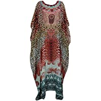 Mogul Interior Womens Caftans Chetah Print with Sequin work Brown V-neck Beach House Dress One Size
