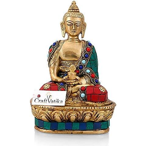 Craftvatika dharmachakra in ottone statua di Buddha Shakyamuni tibetano Lotus seduta scultura Home Decor Applique - Tibetana Buddha Seduto Statua