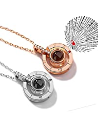 Evaky Women Pendant Rose Gold Necklace Projection 100 Languages of I Love You Necklaces, Gift for Lovers