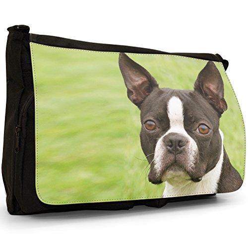 Boston Terrier Boston Bull Bosso–Borsa Tracolla Tela Nera Grande Scuola/Borsa Per Laptop Boston Terrier In The Park