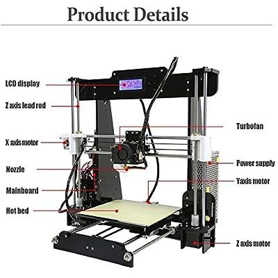 3D-Drucker, ColorFish A8 Prusa i3 MK8 Extruder Hochpräzise Self Assembly 3D Drucker Upgrade Kit, 1.75mm ABS/PLA Drucker Filament (Baugröße 220 × 220 × 240 mm) (A8)