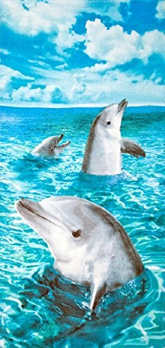 1LAP2GO Towel Fashion Delfine, die Fun Velours 30x 60Strandtuch Badetuch -