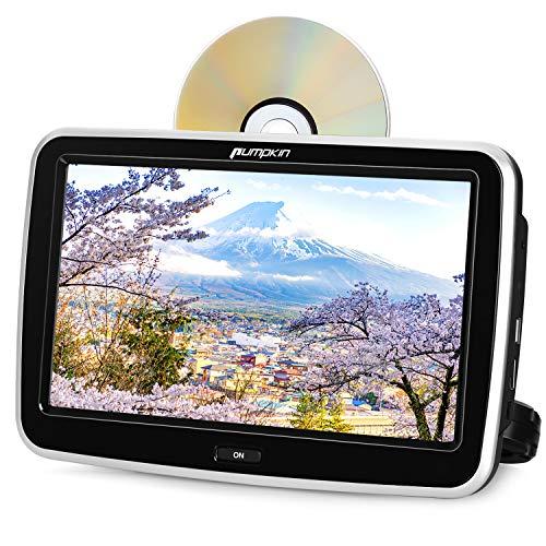 Pumpkin Full HD 1080P lettore dvd auto poggiatesta, 10.1 Pollici tocca schermo,si infila i dvd automaticamente, lettore dvd regione free, lettore USB/SD, facile da usare, 18 mesi di garanzia