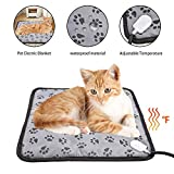 soundwinds Pet Heating Pad Electric Cat Dog Heated Mat Waterproof Anti Chew Cord Pet Heat Pad Winter Warm Heated Pet Mat Cushion Bed with Adjustable Temperature for Kittens Cat Puppies