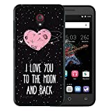 Alcatel OneTouch Go Play Hülle, WoowCase Handyhülle Silikon für [ Alcatel OneTouch Go Play ] Herz Liebe Satz - I Love You To The Moon And Back Handytasche Handy Cover Case Schutzhülle Flexible TPU - Schwarz