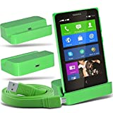 i-Tronixs (Green + Data Cable) Nokia Lumia x2 dual sim Premium Stylish Micro USB Desktop Ladestation Tischständer mit Micro-USB-Flat Data Sync Ladekabel