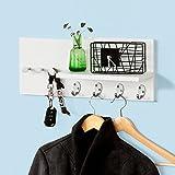 SoBuy® Moderna estantería de pared, perchero, estante de pared, estante, colgador de llaves, blanco, FRG54-W,ES