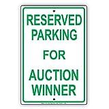 """Réservées au stationnement pour Enchères Winner Vert lettres avis de Alerte avertissement en aluminium plaque de plaque en métal 8""""x12""""..."""