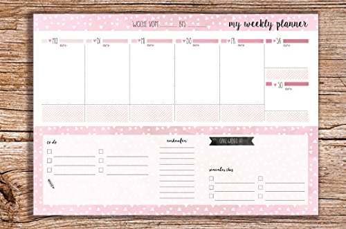 My weekly planer rosa - Block A4 Wochenkalender im Quer Format Planer To do Liste Einlaufsliste