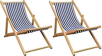Pack of 2 Harbour Housewares Garden Deck Chairs - 3 Positions - Blue / White Stripe