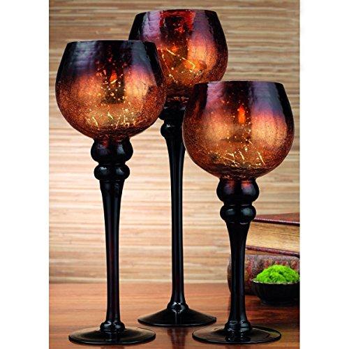 Set von 3braun Quecksilber Schokolade Crackle Finish Glas Hurricane Kerze ~ Deko Kugel Ball Kerzenhalter ~ HOME DECOR & Party Mittelpunkt (Kerzen Glas-hurricane Für)