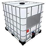 1000l IBC Container REBOTTLED auf Stahl-/Kunststoffpalette Deckelgröße DN 225, Armaturgröße S60x6 Grobgewinde