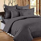 Ahmedabad Cotton 3 Piece 300TC Striped Duvet Cover Set - 90 x 100 inches, Elephant Grey