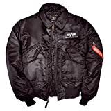 Alpha Industries Flight Jacket CWU 45 Top Gun Bomber Jacke aus Nylon hat ein warmes Steppfutter mit Polyesterfüllung Pilotenjacke
