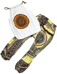 Vestido niñas, Switchali Bebé Niña Verano moda blusas floral chaleco sin mangas camisa + nacional viento Pantalones Conjunto de ropa de fiesta para chica casual blusa barato