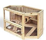 Hamsterkäfig Nagerstall Massivholz Kleintierkäfig mit Glas 3 Stocke HT2007 -
