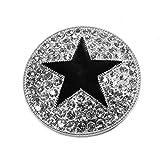 Runde Magnet Brosche mit großem schwarzen Stern und Strass Schalhalter Farbe Silber