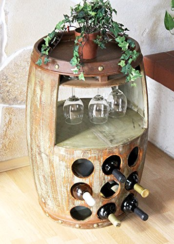 DanDiBo Weinregal Weinfass 1681 Bar Flaschenständer 69 cm Regal für 18 Fl. Fass Holzfass