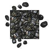 5 kg Polierter Kiesel Glanzkies Flusskiesel Kieselsteine Ziersteine Gartenkies Zierkies schwarz Körnung 20/30 mm