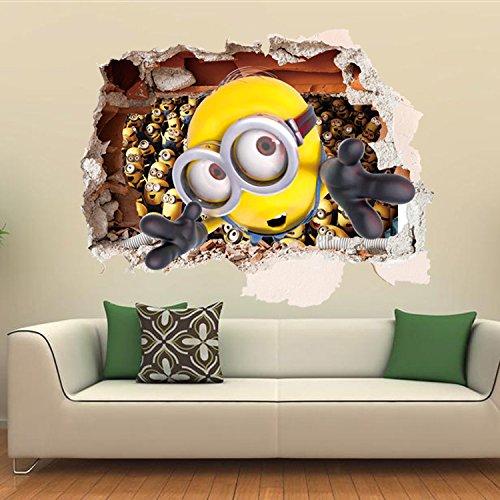 iFresh®Dessin animé 3D petits jaunes décoration stickers autocollnts muraux minions mur
